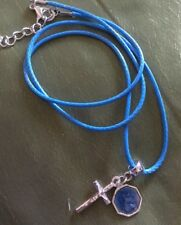 St Christopher& CrossOn Blue Cord Necklace.