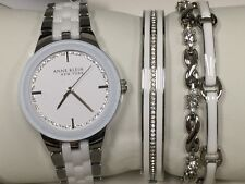 New Anne Klein New York 12/2243SVST Women's Silver Tone Watch And Bracelet Set