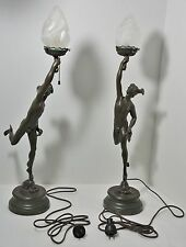 ANTIQUE LAMPS MERCURE PAR JEAN DE BOLOGNE NEWEL POST SPELTER STATUES  (2) PARIS