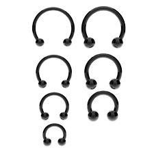 BLACK Horseshoe Bar Circular Barbell - Lip Nose Septum Ear Ring Anodized Steel