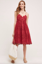 NEW Anthropologie Red Summer Moon Midi Dress by Maeve Lace Sz 8 $168