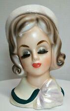 Large Vintage Lady Head Vase, No Markings