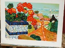 Guy Charon signed Lithograph 11/35 Flowers, Roof Tops, Sail Boats 25 x 19