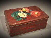 Ancienne grande boîte en tôle lithographiée décors floraux Roses - dans son jus