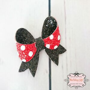 Minnie Mouse Style Red White Black Glitter Hair Bow Clip or Bobble Medium 3 Inch