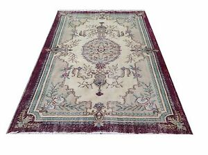 "8'4"" x 5'2"" aqua cream burghandy green oushak vintage rug carpet tapis teppich"