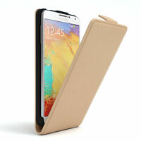 Tasche für Samsung Galaxy Note 3 Neo Flip Case Schutz Hülle Cover Hellbraun