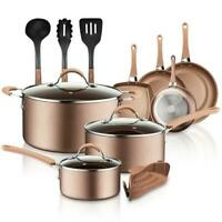 NutriChef Nonstick Cooking Kitchen Cookware Pots and Pans, 14 Piece Set, Bronze