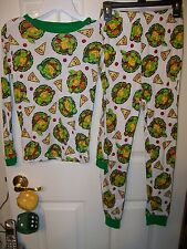 Teenage Mutant Ninja Turtles TMNT Long White 2 Piece Pajama PJ Boys Size 6 NWT
