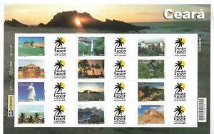 BRAZIL 2009 NORTHERN PHILATELIC EXHIBITION NORDEX SHEETLET 12 VALUES + LABELS