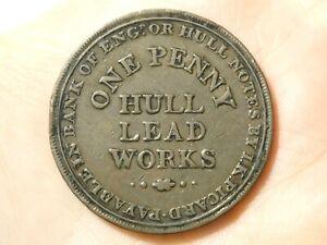 1812 HULL LEAD WORKS One Penny Token Condor  #TT116