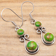 Green Copper Turquoise Earrings ! Silver Plated Old Style Wedding Jewelry