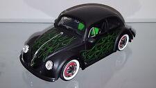 1/24 JADA 1959 VOLKSWAGEN BEETLE BUG FLAT BLACK & GREEN FLAMES MATCHING INTERIOR