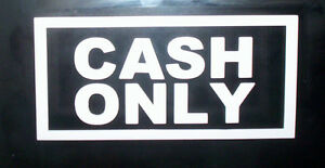 """"""" CASH ONLY """" TAXI STICKER 10 X 5 INCHES"""