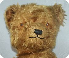 "24"" MOHAIR JOINTED TEDDY  BEAR VINTAGE GLASS EYES BROWN SHOWS WEAR  NICE ONE"