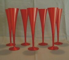7 CHAMPAGNE FLUTES POLYCARBONTE RED STEMWARE FLUTE GLASSES STEMS DRINKWARE