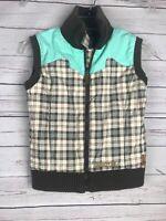 Girls Youth BURTON Snowboard Ski Vest Sz Med Plaid Green Brown Vest Full Zip