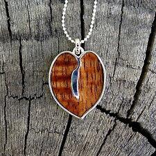 New Hawaiian Jewelry Koa Wood Scroll Heart Rhodium Plated Brass Pendant BRP1129