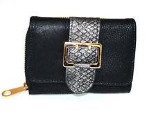 PORTAFOGLIO NERO donna fibbia oro borsello portamonete borsellino wallet G6