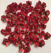 30 DBL LPD MED Santa Paws Satin Dog Bows Christmas dog bows Handmade Grooming