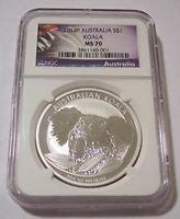 Australia 2014 P 1 oz Silver Dollar Koala MS70 NGC