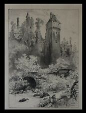 [NORMANDIE CALVADOS CAEN BAYEUX] ROBIDA (Albert) - Litho Le Château de Creuilly.