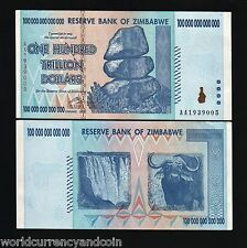 100 Trillion Dollars *AA* 2008 UNC World's Largest Denomination Money Zimbabwe