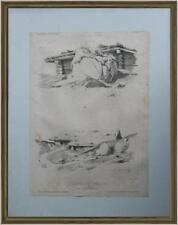 lito 800 disegno di paesaggio cartella Etude du Paysage Alexandre Calame firmata