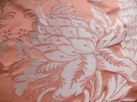 "10Y SCALAMANDRE ""NATCHEZ"" SILK LAMPAS, SALMON PINK & OFF WHITE SILVER White"