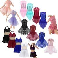 Girls Skating Ballet Latin Jazz Dance Dress Children Sequins Leotard Tutu Skirt