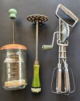 Lot of 3 Vintage Kitchen Wares Utensils Green Masher, Hand Beater, Nut Chopper