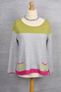 WHITE STUFF Lime green & pink fairisle panelled jumper 14