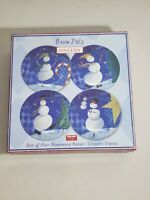 New Oneida Snow Pals Set of 4 Stoneware Dessert Plates Snowman Winter Christmas