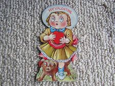 Vintage Made in Usa Mechanical Valentine: Girl with Googly Eyes and Dog