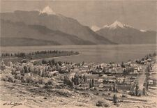 Queenstown and Lake Wakatipu. New Zealand 1885 old antique print picture