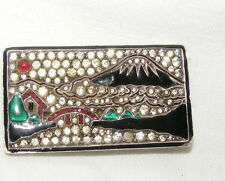 ANTIQUE ART DECO SILVER JAPANESE JAPONAISE BROOCH PIN MOUNT FUJI PASTE FRENCH