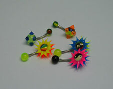 lot de 5 piercings de nombril uv fluo silicone