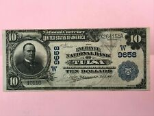 1902 $10 Exchange National Bank of Tulsa Oklahoma Note Date Back VF+