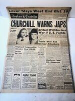 Boston Traveler Newspaper 1941 World War 2
