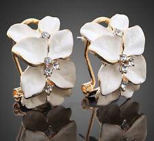 Cute Women Gardenia Flower Crystal Ear Studs Rhinestone Earrings Ear Hoop Buckle