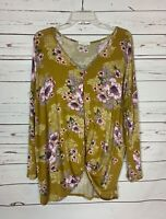Boutique Entro Women's M Medium Green Purple Floral Cute Spring Tunic Top Shirt