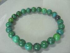 Edles 8 mm Chrysokoll Perlen Armband/Armkette Bracelet 19,5 cm auf Stretchband