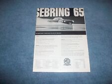 "1965 MG Austin Healey Sprite MGB Midget Vintage Ad ""Sebring '65"""
