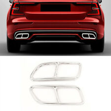 Car Tail Throat Decor Frame Cover Exhaust Pipe Trim For Volvo S60 V60 2014-2019