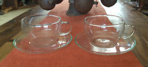 2 X Vintage Extremely Fine Glass Cup & Saucers  No Markers Mark Very Fragile