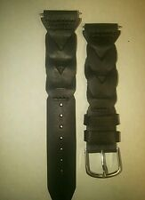 New black leather strap watch band 20mm smooth soft flexible dress casual rugged