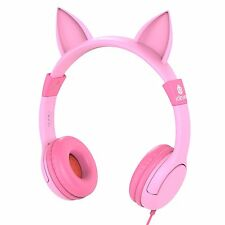 iClever Pink Cat Ear for Girls Boys Kid Volume Limited Headphone Adjustable Xmas