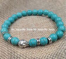 Jewelry 8mm Howlite Turquoise beads Tibet silver Buddha adjustable bracelets