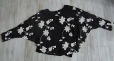August Silk Black Embroidered Floral Batwing Top Size XL NWT