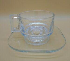 MID CENTURY JOE COLOMBO DESIGNER GLASS TEA Coffee ~  CUP & SAUCER SET ~ ITALY ~